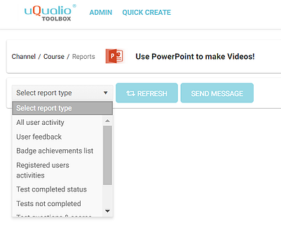Select report type dropdown in uQualio Software