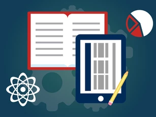 Atom symbol, tablet, book, pie-chart, and pencil