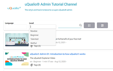 Screenshot showing how you can change the skill level of a course in uQualio