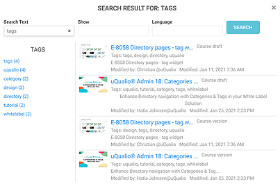 Search results for Tag in uQualio software