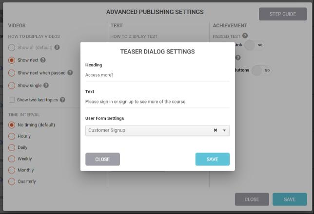 Teaser dialog settings