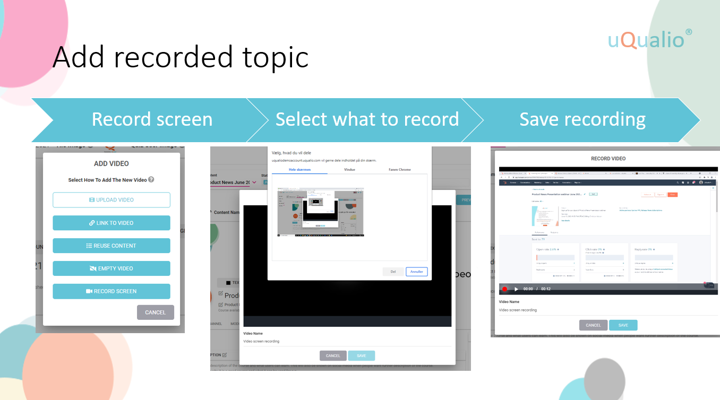 Example of how you add a recorded topic in uQualio software.