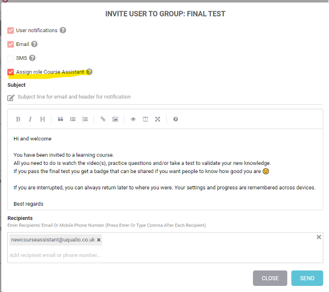 Invite users directly as Course Assistants