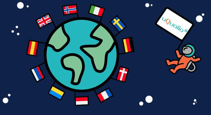 Cartoon graphic on earth with country flags in it. uQaulio astronaut is landing in on the earth with a uQualio flag.