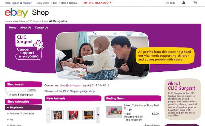 CLIC Sargent eBay site