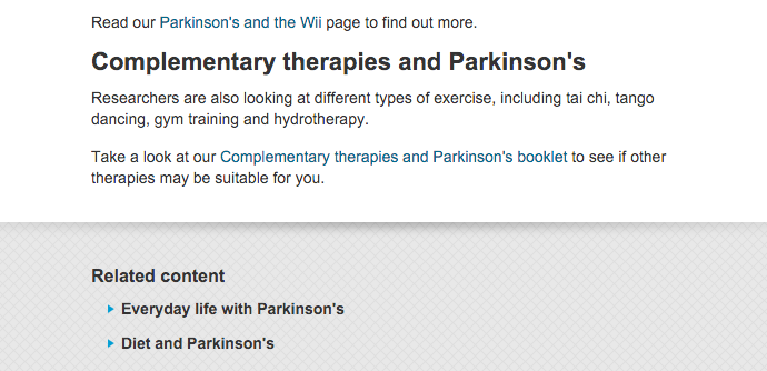 Parkinsons UK clear next steps example