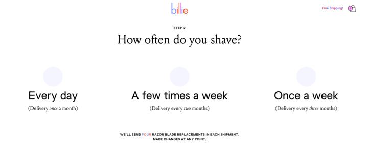 post purchase survey Billie