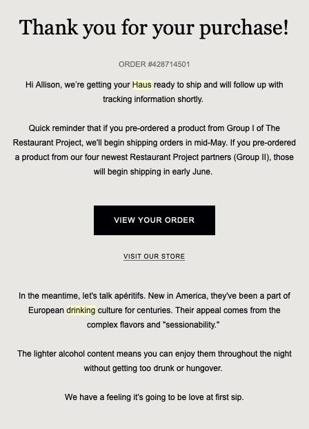 Drink Haus Order Delay Example