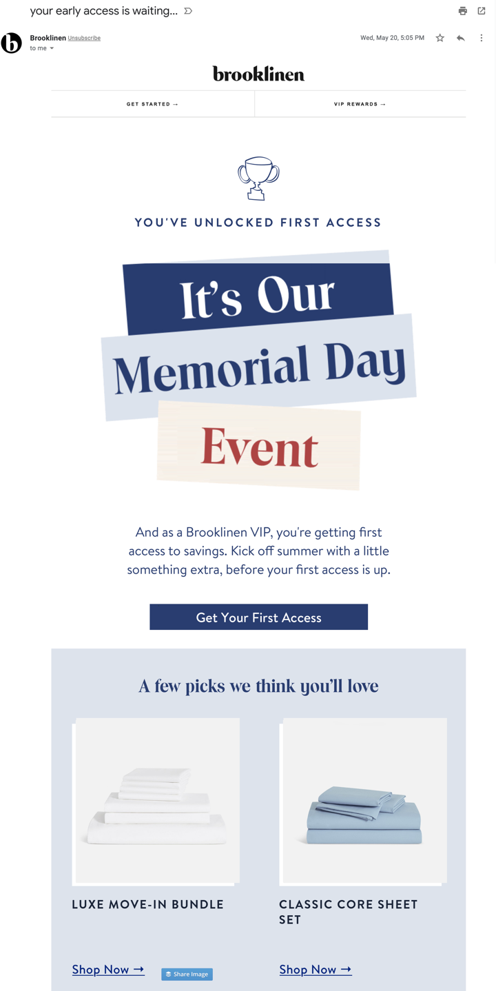 ecommerce-email-example-brooklinen-sale-vip