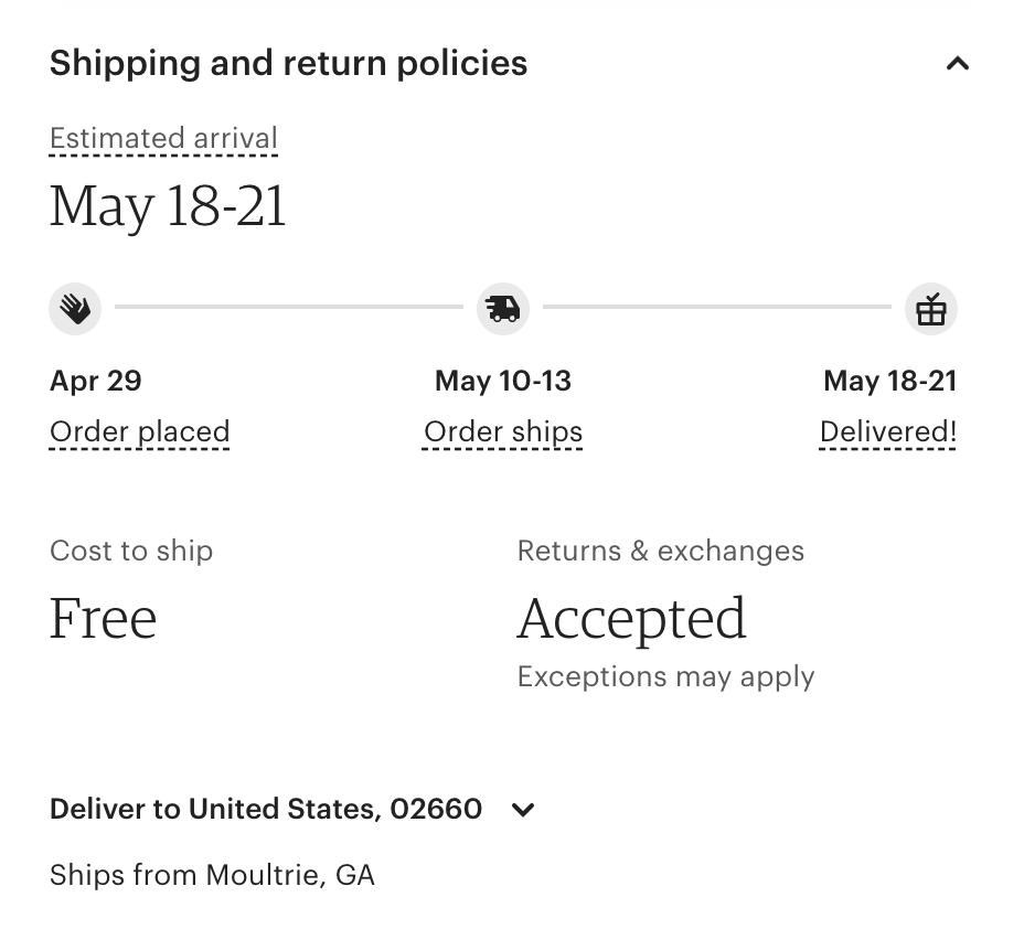 ecommerce shipping eta example