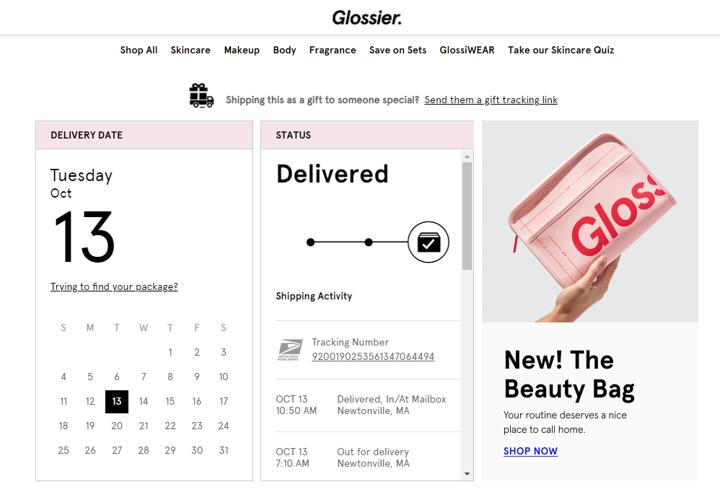 glossier order tracking page