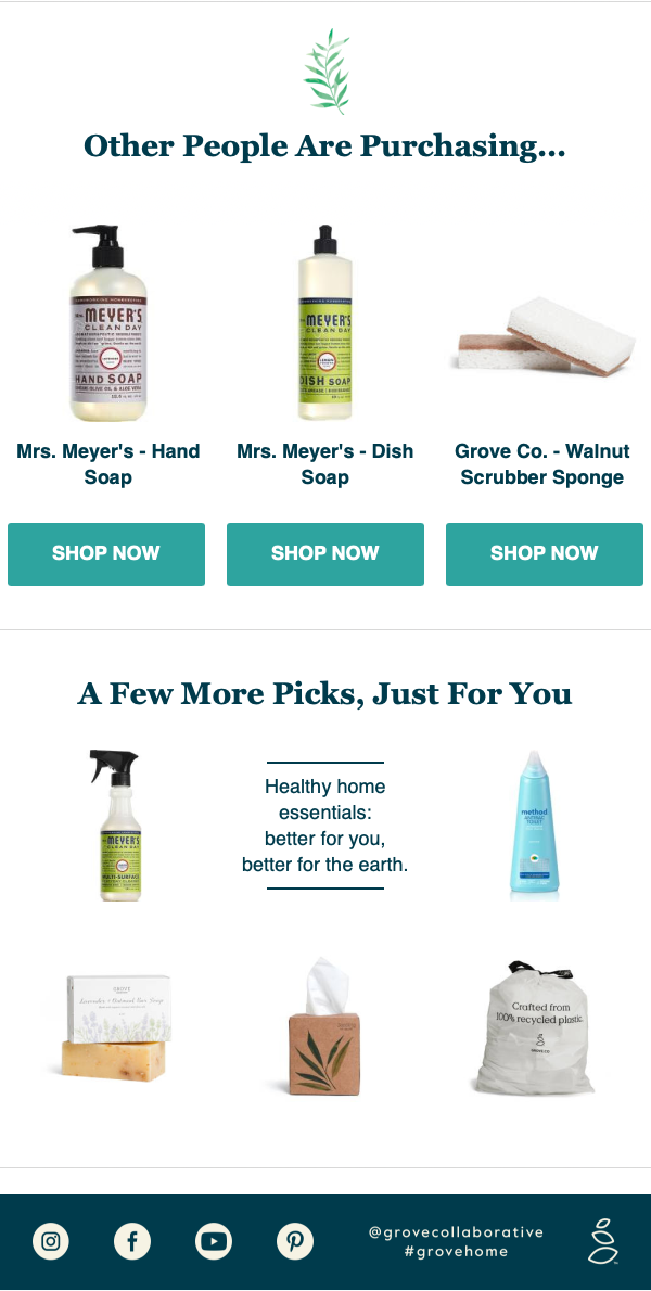 subscription product email grove