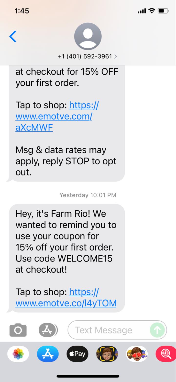 SMS retail marketing from farm rio
