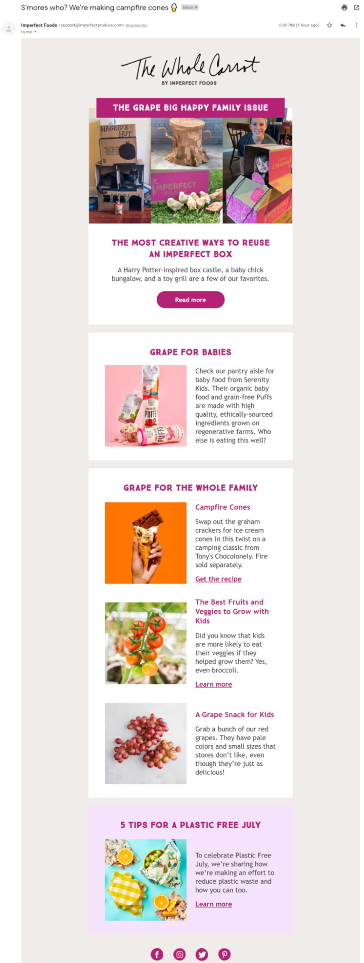 imperfect foods subscription email example