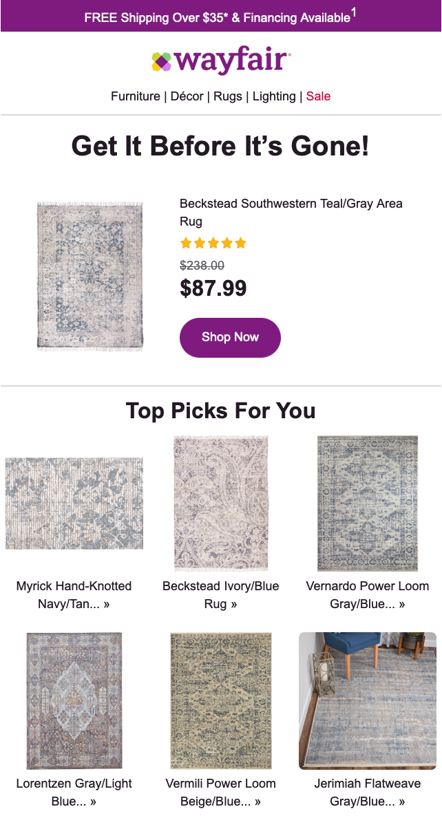 wayfair abandoned cart recovery email
