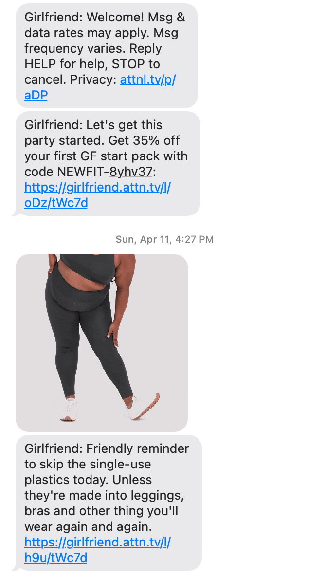 post purchase SMS from girlfriend