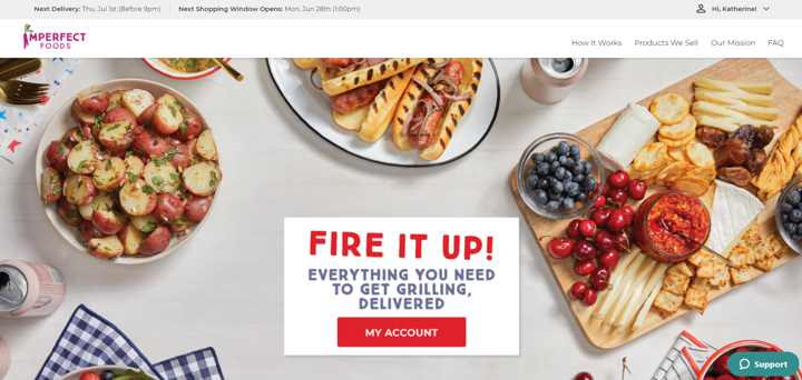 personalized website experience post purchase imperfect foods