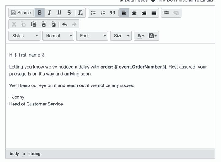 klaviyo email order number