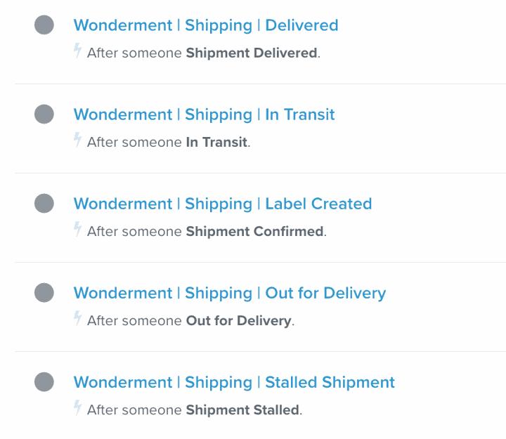 klaviyo shipping flow examples wonderment