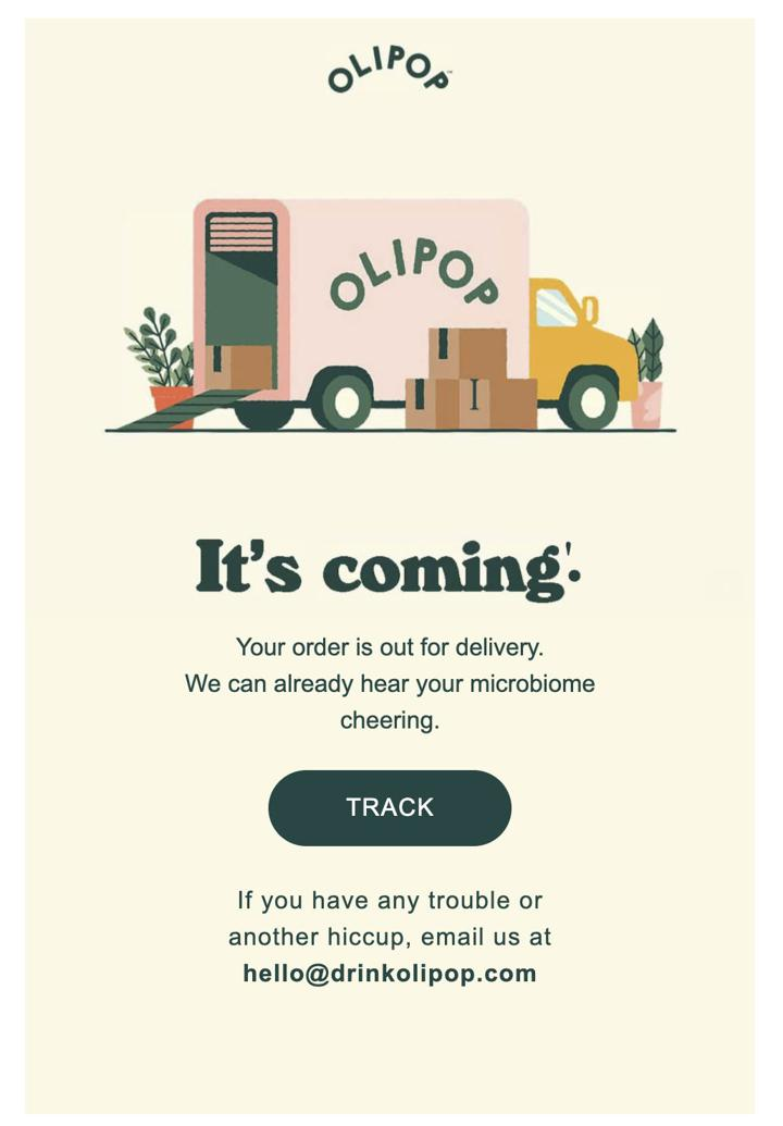Olipop Out for Delivery Email