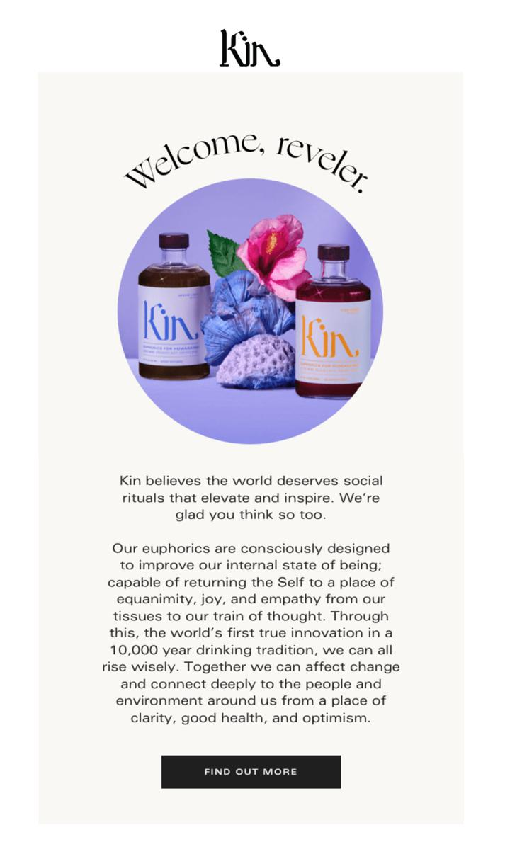 Kin Welcome Email Example