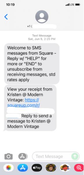 sms receipt