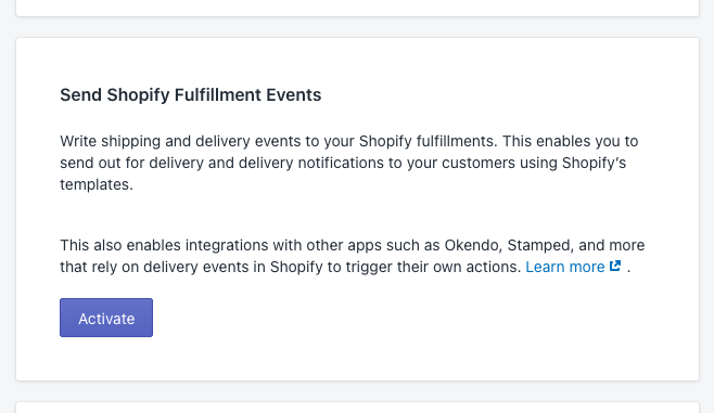 activate shopify fulfillment events