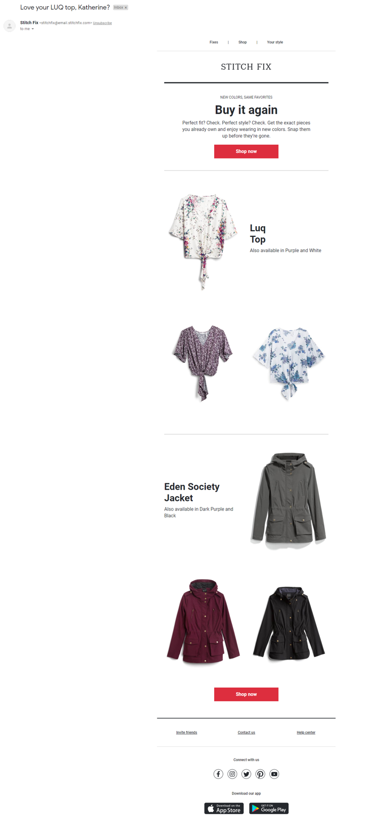 post purchase email stitch fix