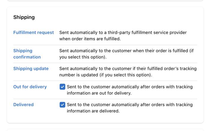 Shopify Shipping Settings Screen