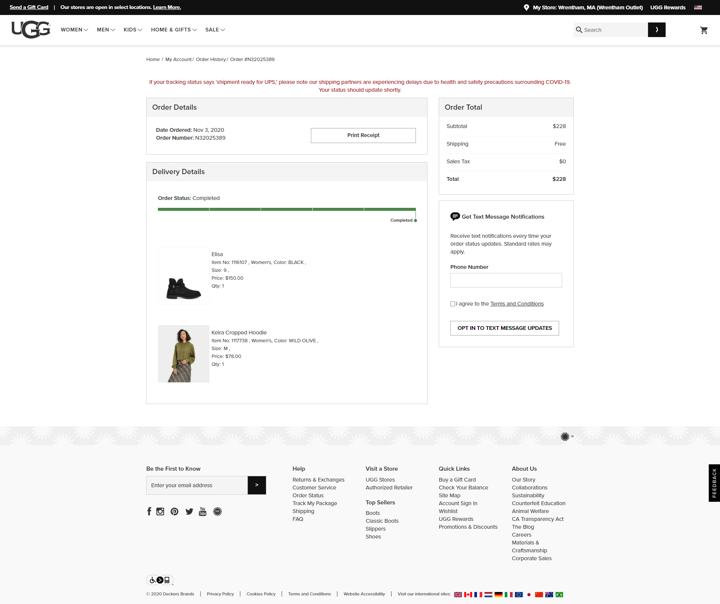 ugg order tracking page