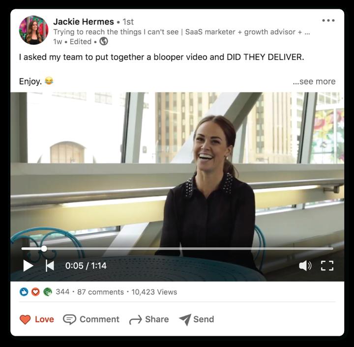 LinkedIn post from leader