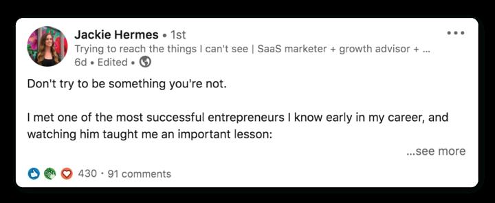 LinkedIn text post example