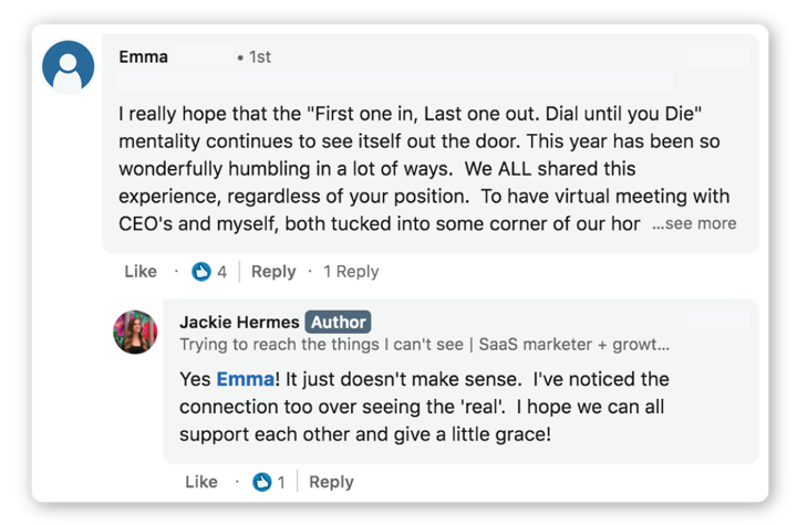 LinkedIn comments example