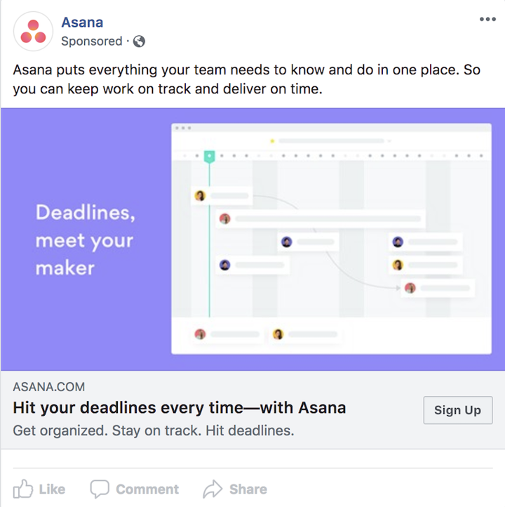 ad example from Asana