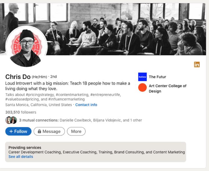 Chris Do's LinkedIn page