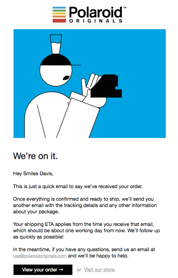confirmation email from Polaroid