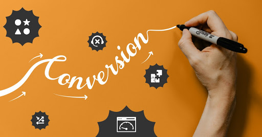 """conversion rate graphic of person writing """"conversion"""""""
