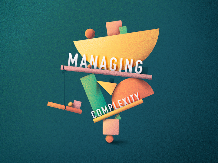 "custom illustration with phrase ""managing complexity"""