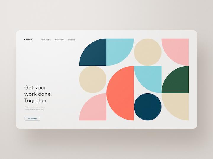 custom illustration example with geometric shapes