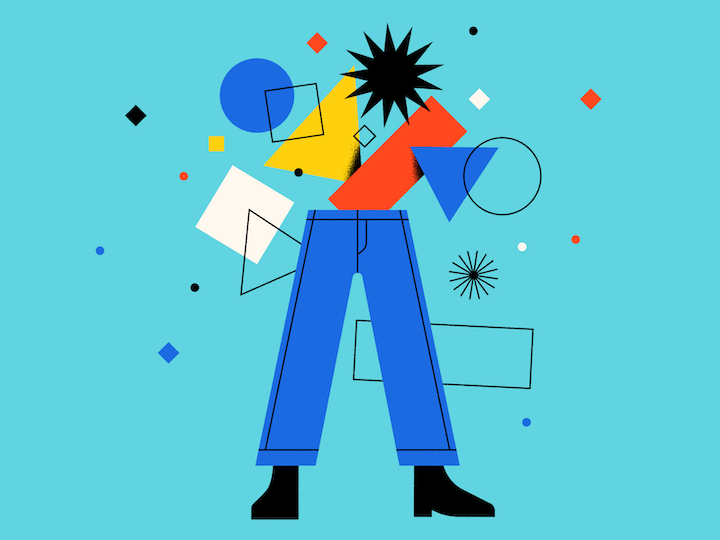 custom illustration with human form and geometry