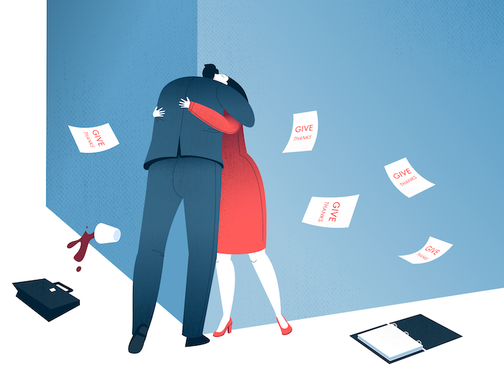 custom illustration example of two people hugging