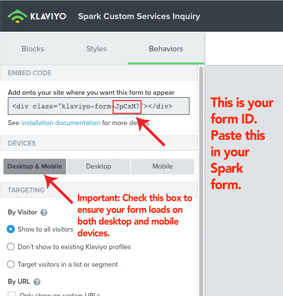 Klaviyo form settings