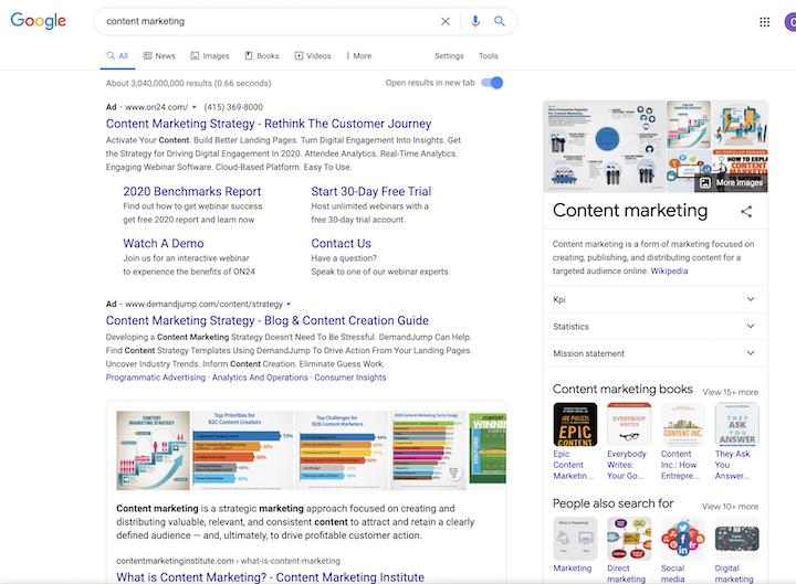ebook marketing Google Ad example