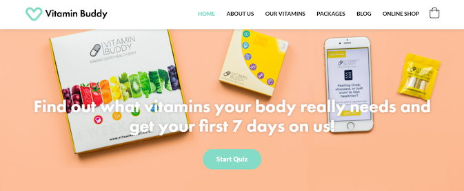 landing page example from Vitamin Buddy