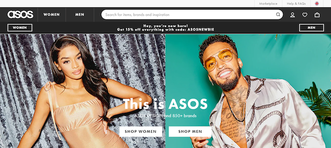 personalized landing page from ASOS