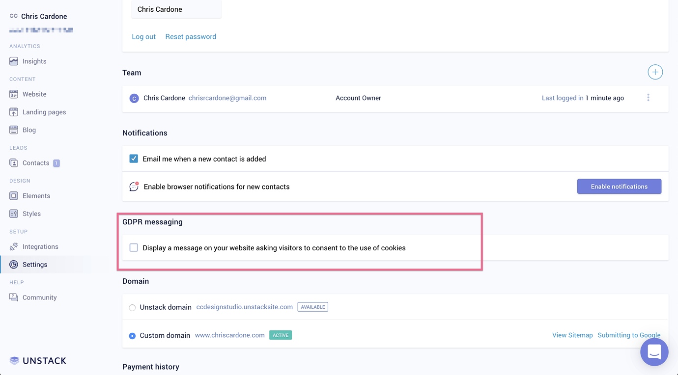 Activating GDPR Compliance in Unstack