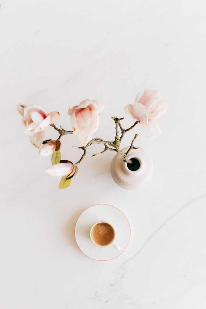 flower vase and espresso