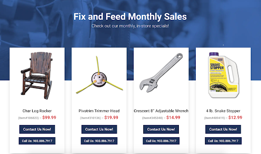 hardware store web design products