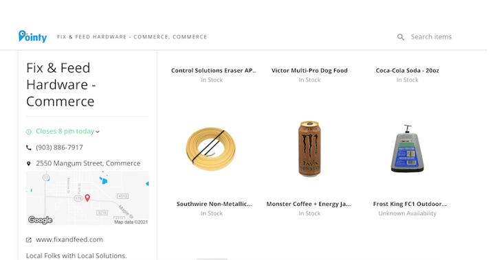 hardware store web design example