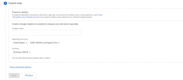 add a property in Google Analytics screenshot